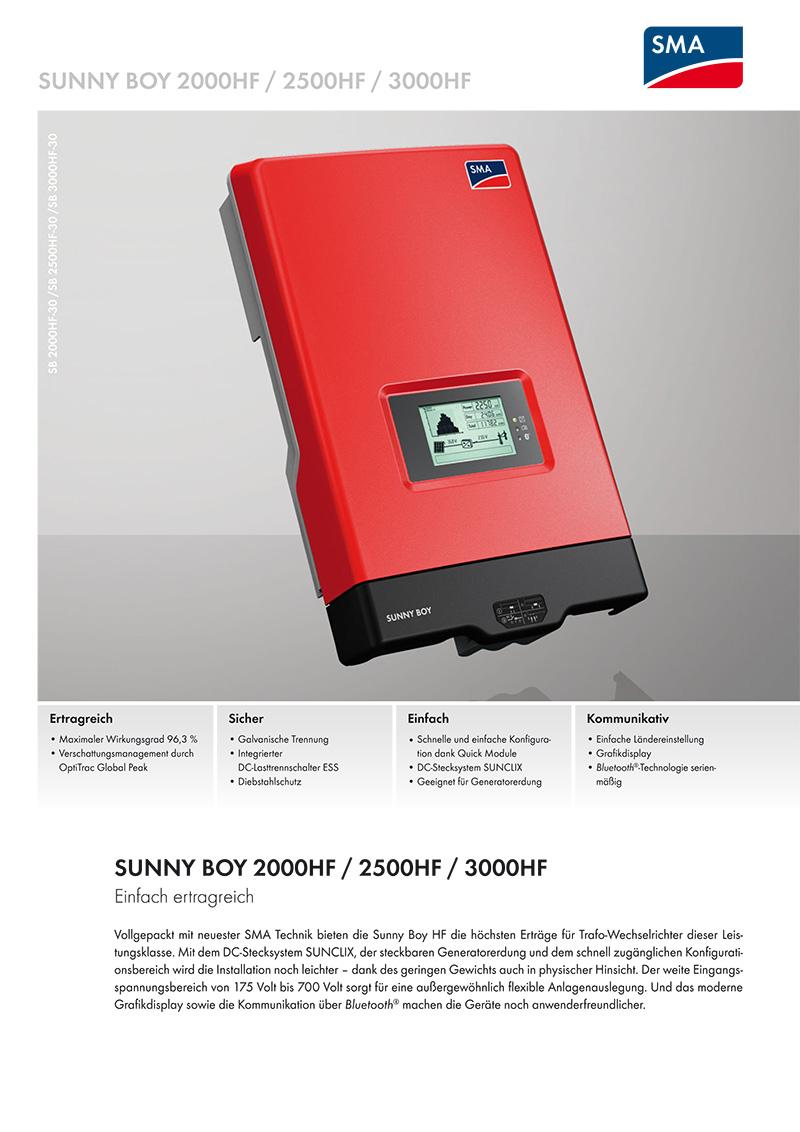 wechselrichter sma sunny boy sb 3000 hf 30 powerline solartechnik. Black Bedroom Furniture Sets. Home Design Ideas