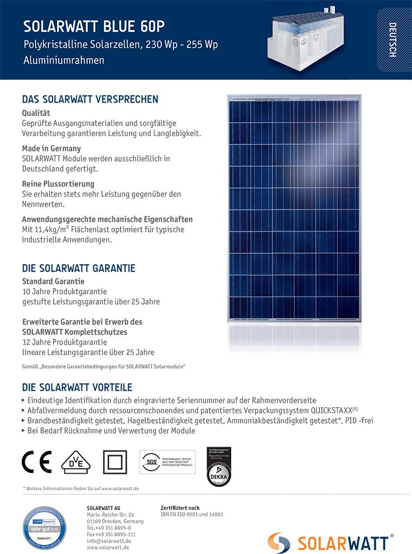 solarmodul solarwatt blue 60p 250 poly powerline. Black Bedroom Furniture Sets. Home Design Ideas